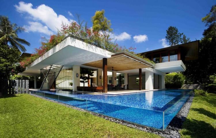 Maison de rêve avec piscine en verre - Construction Contemporaine