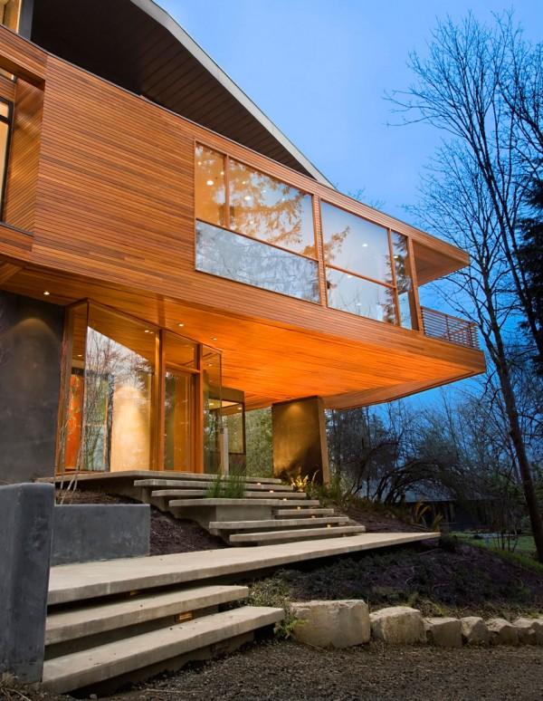 Maison bois béton sur pilotis - Construction Contemporaine