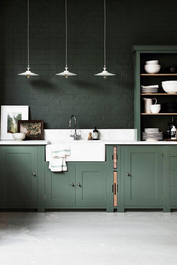 Peinture verte dans la cuisine