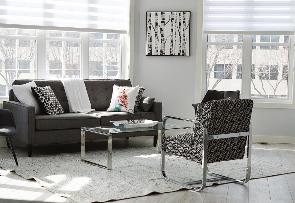 Salon noir et blanc moderne avec meubles contemporains