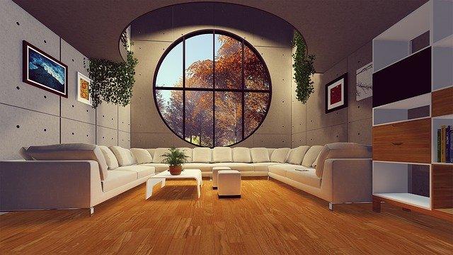 maison contemporaine avec grande vitre en rond